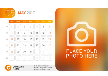 Desk Calendar for 2017 Year. May. Vector Design Print Template with Place for Photo, Logo and Contact Information. Week Starts on Sunday. Calendar Grid with Week Numbers