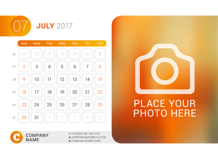 Desk Calendar for 2017 Year. July. Vector Design Print Template with Place for Photo, Logo and Contact Information. Week Starts on Sunday. Calendar Grid with Week Numbers