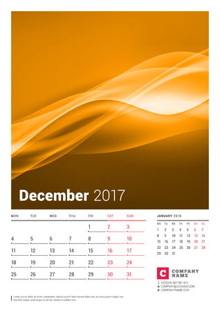 December 2017. Wall Monthly Calendar for 2017 Year. Vector Design Print Template with Place for Photo. Week Starts Monday. 2 Months on Page