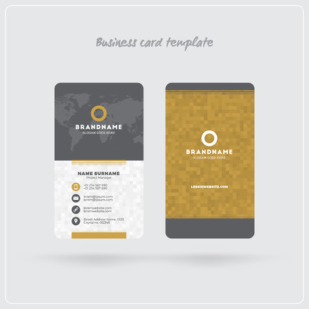Golden and Gray Vertical Business Card Print Template. Double-sided Personal Visiting Card with Company Logo. Clean Flat Design. Rounded Corners. Vector Illustration. Business Card Mockup with Shadows