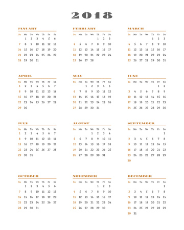 Calendar for 2018 year on white background. Vector design print template. Week starts Sunday. Stationery design