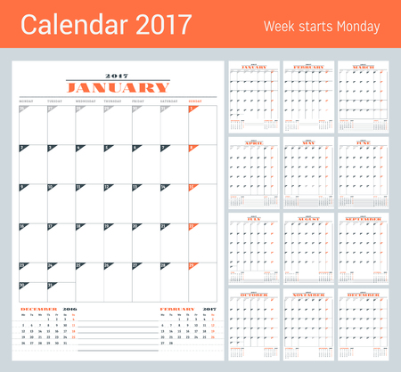 months of the year: Calendar Template for 2017 Year. Set of 12 Months. Business Planner Template. Stationery Design. Week starts Monday. 3 Months on the Page. Vector Illustration