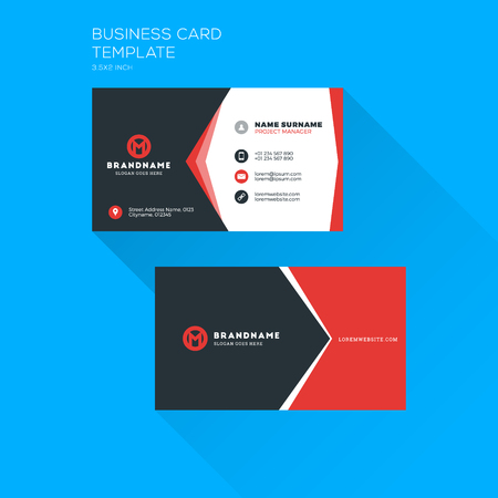 personal identification number: Corporate business card print template. Personal visiting card with company logo. Clean flat stationery design. Vector Illustration Illustration