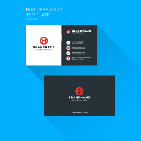 Corporate business card print template. Personal visiting card with company logo. Clean flat stationery design. Vector Illustration Illustration