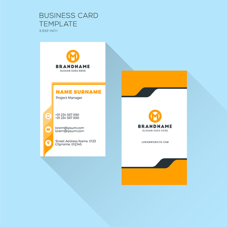 Vertical Business Card Print Template. Personal Visiting Card with Company Logo. Clean Flat Design. Vector Illustration Illustration
