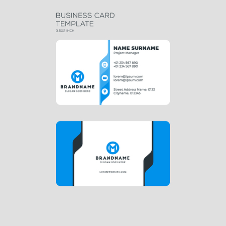 personal identification number: Illustration of business card print template. Personal visiting card with company logo. Clean flat stationery design. Vector Illustration