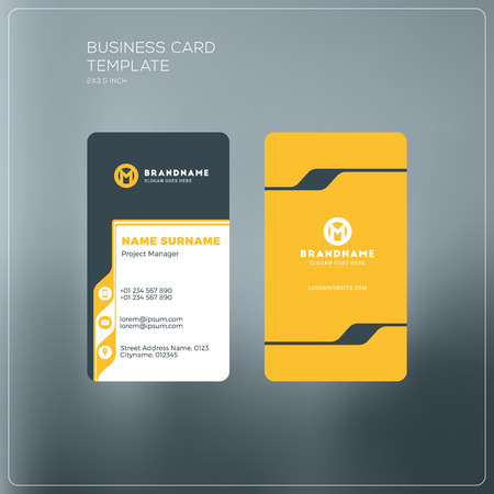 vector vertical business card print template personal business card with company logo black and yellow colors clean flat design vector illustration - Vertical Business Cards