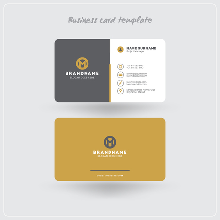 Golden and gray business card print template personal visiting golden and gray business card print template personal visiting card with company logo clean flashek Images