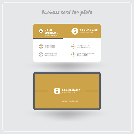 Golden And Gray Business Card Print Template Personal Visiting