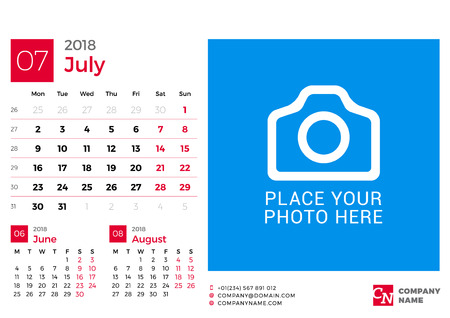 next day: Calendar for 2018 Year. Vector Design Print Template with Place for Photo and Company Logo. July 2018. Week Starts on Monday. 3 Months on Page