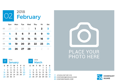 next year: Calendar for 2018 Year. Vector Design Print Template with Place for Photo and Company Logo. February 2018. Week Starts on Sunday. 3 Months on Page Illustration