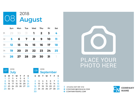 next year: Calendar for 2018 Year. Vector Design Print Template with Place for Photo and Company Logo. August 2018. Week Starts on Sunday. 3 Months on Page