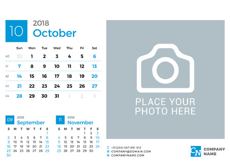 next year: Calendar for 2018 Year. Vector Design Print Template with Place for Photo and Company Logo. October 2018. Week Starts on Sunday. 3 Months on Page