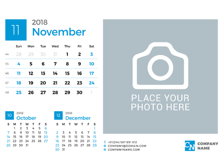 next day: Calendar for 2018 Year. Vector Design Print Template with Place for Photo and Company Logo. November 2018. Week Starts on Sunday. 3 Months on Page
