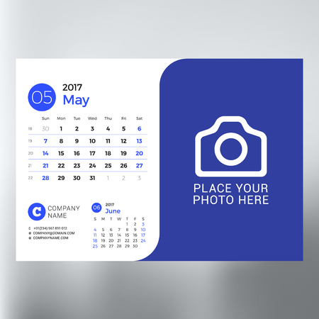 event planning: Calendar Template for May 2017. Week Starts Sunday. Design Print Template. Vector Illustration Isolated Illustration