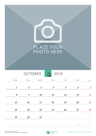 chronology: October 2018. Wall Monthly Calendar for 2018 Year. Vector Design Print Template with Place for Photo. Week Starts on Monday. Portrait Orientation