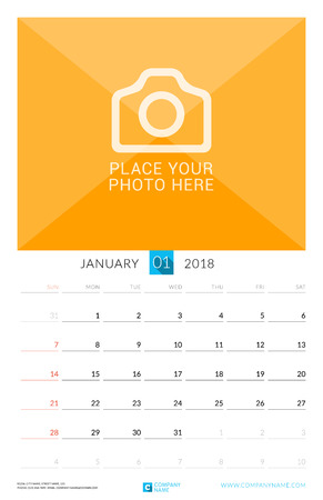event planning: January 2018. Wall Monthly Calendar for 2018 Year. Vector Design Print Template with Place for Photo. Week Starts on Sunday. Portrait Orientation
