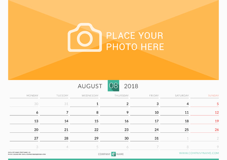 chronology: August 2018. Wall Monthly Calendar for 2018 Year. Vector Design Print Template with Place for Photo. Week Starts on Monday. Landscape Orientation