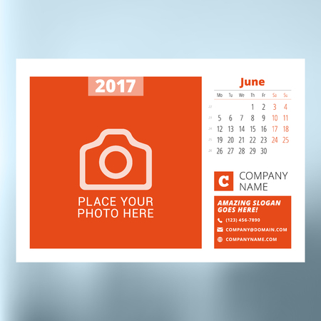 event planning: Calendar planner template for June 2017. Week starts Monday. Design print vector template isolated on blurred background