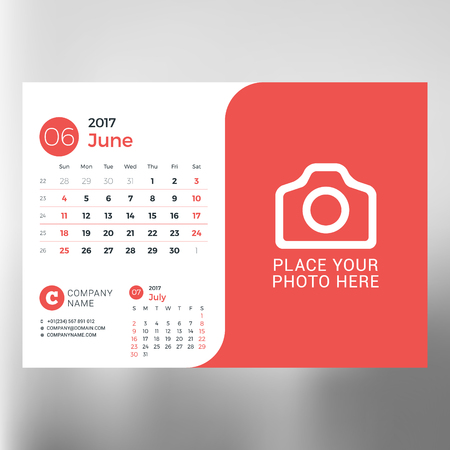 event planning: Calendar planner template for June 2017. Week starts Sunday. Design print vector template isolated on blurred background