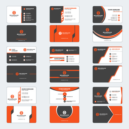 Set of modern business card print templates. Horizontal business cards. Red and black colors. Personal visiting card with company logo. Vector illustration. Stationery design Illustration