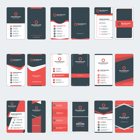 Set of modern business card print templates. Vertical business cards. Red and black colors. Personal visiting card with company logo. Vector illustration. Stationery design