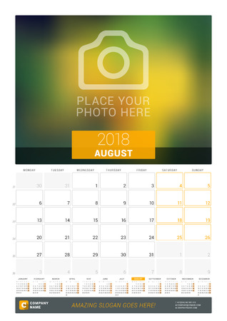 event planning: August 2018. Wall Monthly Calendar for 2018 Year. Vector Design Print Template with Place for Photo and Year Calendar. Week Sarts on Monday