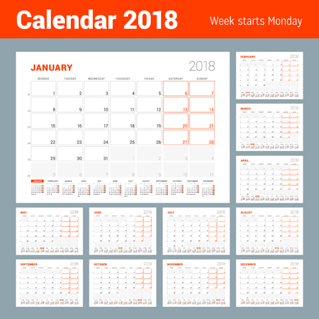 Calendar template for 2018 year set of 12 months business planner calendar template for 2018 year set of 12 months business planner with year calendar wajeb Image collections