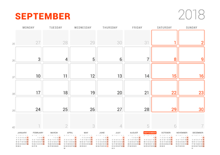 event planning: Calendar Template for 2018 Year. September. Business Planner with Year Calendar. Stationery Design. Week starts on Monday. Vector Illustration Illustration