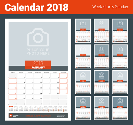 chronology: Monthly Calendar Planner for 2018 Year. Vector Design Print Template with Place for Photo and Year Calendar. Week Sarts on Sunday Illustration