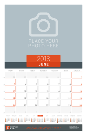 event planning: June 2018. Wall Monthly Calendar Planner for 2018 Year. Vector Design Print Template with Place for Photo and Year Calendar. Week Sarts on Sunday