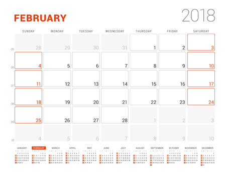 event planning: Calendar Template for 2018 Year. February. Business Planner with Year Calendar. Stationery Design. Week starts on Sunday. Vector Illustration