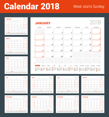 Calendar template for 2018 year set of 12 months business planner calendar template for 2018 year set of 12 months business planner with year calendar friedricerecipe Choice Image