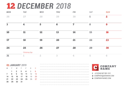 event planning: Calendar template for December 2017. Business planner. Stationery design. Week starts on Monday. 2 Months on the page. Vector illustration
