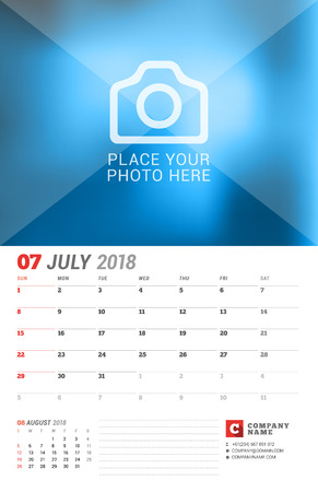 event planning: Wall Calendar Planner for 2018 Year. July. Vector Print Template with Place for Photo. Week Starts on Sunday. 2 Months on Page