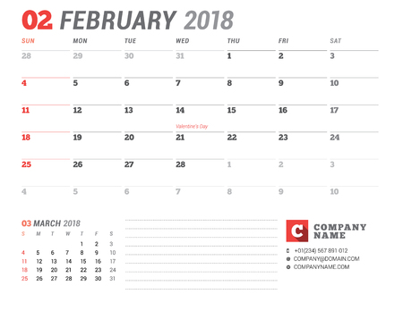 event planning: Calendar Template for 2018 Year. February. Business Planner Template. Stationery Design. Week starts on Sunday. 2 Months on the Page. Vector Illustration