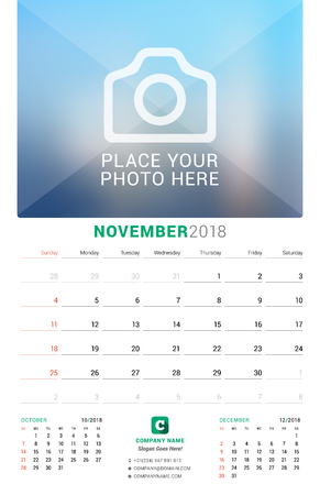 event planning: November 2018. Wall Monthly Calendar for 2018 Year. Vector Design Print Template with Place for Photo. Week Starts on Sunday. 3 Months on Page