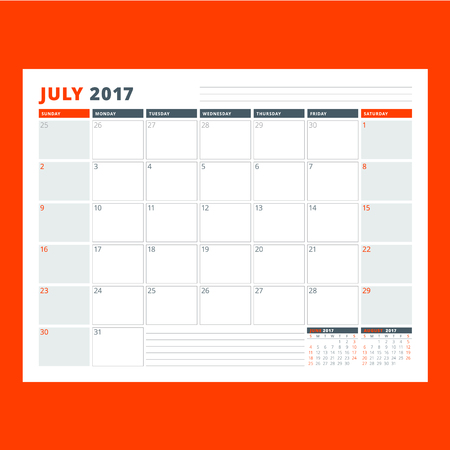 event planning: Calendar planner template for July 2017. Week starts on Sunday. Design print vector template isolated on color background