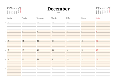 Vector Calendar Planner Template For 2018 Year December Stationery