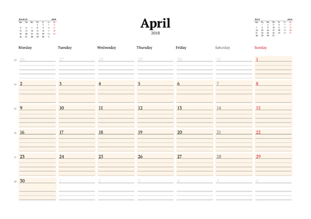 event planning: Vector Calendar Planner Template for 2018 Year. April. Stationery Design. Week starts on Monday. 3 Months on the Page. Vector Illustration Illustration