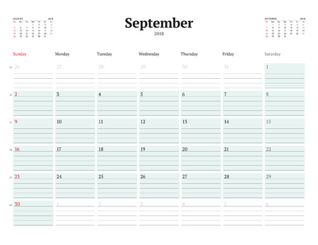 event planning: Vector Calendar Planner Template for 2018 Year. September. Stationery Design. Week starts on Sunday. 3 Months on the Page. Vector Illustration Illustration