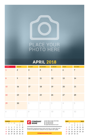 event planning: Vector calendar planner template for 2018 year. April. Vector design print template with place for photo. Week starts on Sunday. 3 months on page. Stationery Design