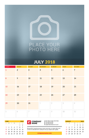 Vector calendar planner template for 2018 year. July. Vector design print template with place for photo. Week starts on Sunday. 3 months on page. Stationery Design