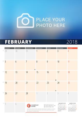 Wall Calendar Planner For 2018 Year Vector Design Print Template