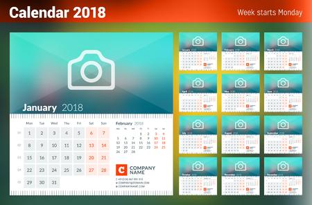 2018 년 달력. 주 월요일에 시작됩니다. 12 개월의 집합입니다. 사진 및 회사 정보를위한 장소가있는 벡터 디자인 인쇄 템플릿 스톡 콘텐츠 - 82073340