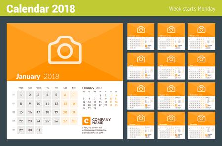 2018 년 달력. 주 월요일에 시작됩니다. 12 개월의 집합입니다. 사진 및 회사 정보를위한 장소가있는 벡터 디자인 인쇄 템플릿 일러스트