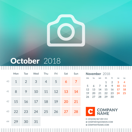 next year: October 2018. Calendar for 2018 Year. Week Starts on Monday. 2 Months on Page. Vector Design Print Template with Place for Photo and Company Information