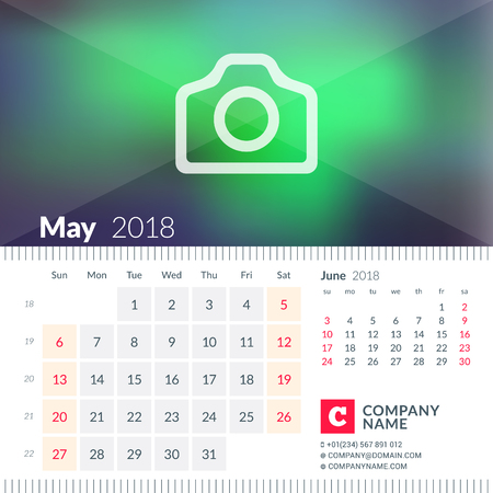 next year: Calendar for May 2018. Week starts on Sunday. 2 months on page. Vector design template with place for photo.
