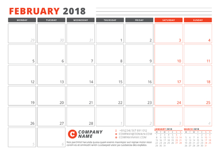 Calendar Template for 2018 Year. February. Business Planner 2018 Template. Stationery Design. Week starts on Monday. Ilustração