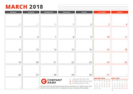 Calendar Template for 2018 Year. March. Business Planner 2018 Template. Stationery Design. Week starts on Monday.